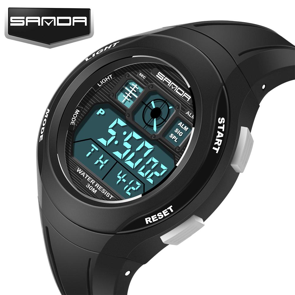 Prix pour Sanda marque de luxe hommes sport montres de plongée 30 m numérique led militaire montre hommes mode casual électronique montres hot horloge