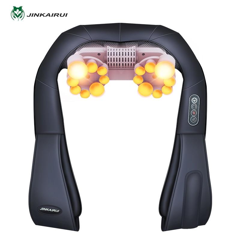 U Shape Electrical Shiatsu Back Neck Shoulder Body Massager Infrared 4D Kneading Massage EU/Flat Plug Car Home Dual Use 16 Balls 4d massager