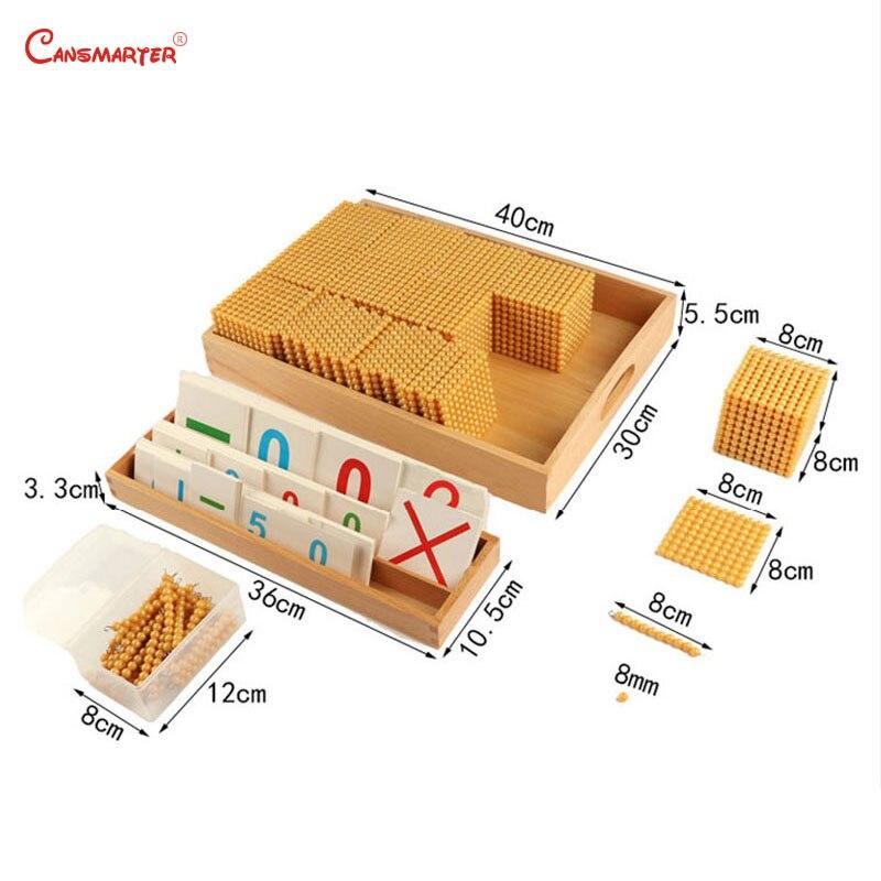 Jouets éducatifs hêtre bois perles d'or matériaux jeu Montessori calcul nombre comptage jouet préscolaire 3-6 ans MA164-3 - 3