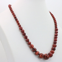 Red Stone Chalcedony Round Bead Tower Chain 6-14mm Necklace 18