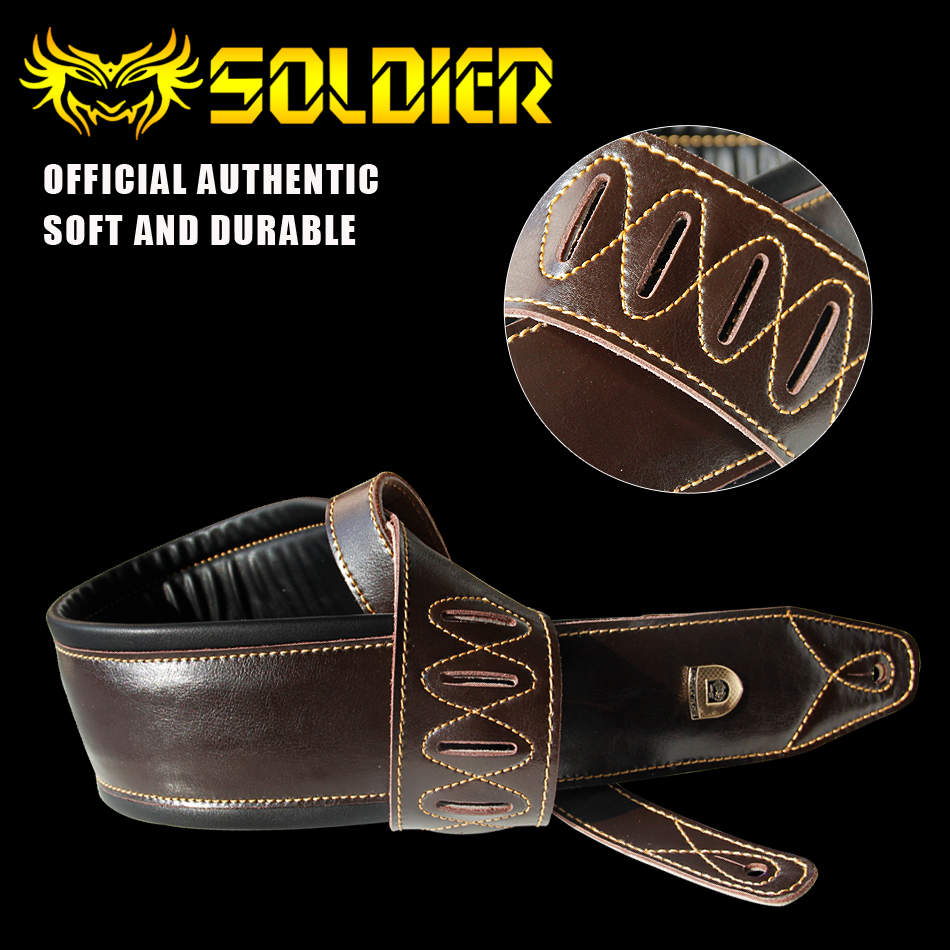 100% handmade guitar / electric guitar / bass straps crafted Super Wide 3.5 Dark Brown Leather Double Padded guitar Strap electric guitar pu leather belt straps acoustic guitar bass strap stamping imitation snakeskin stone texture straps
