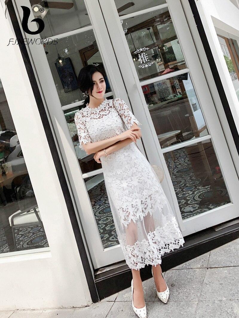 FINEWORDS Vintage évider blanc dentelle robe d'été élégant longues robes de soirée femmes soirée tenues de mariage Slim robe crayon