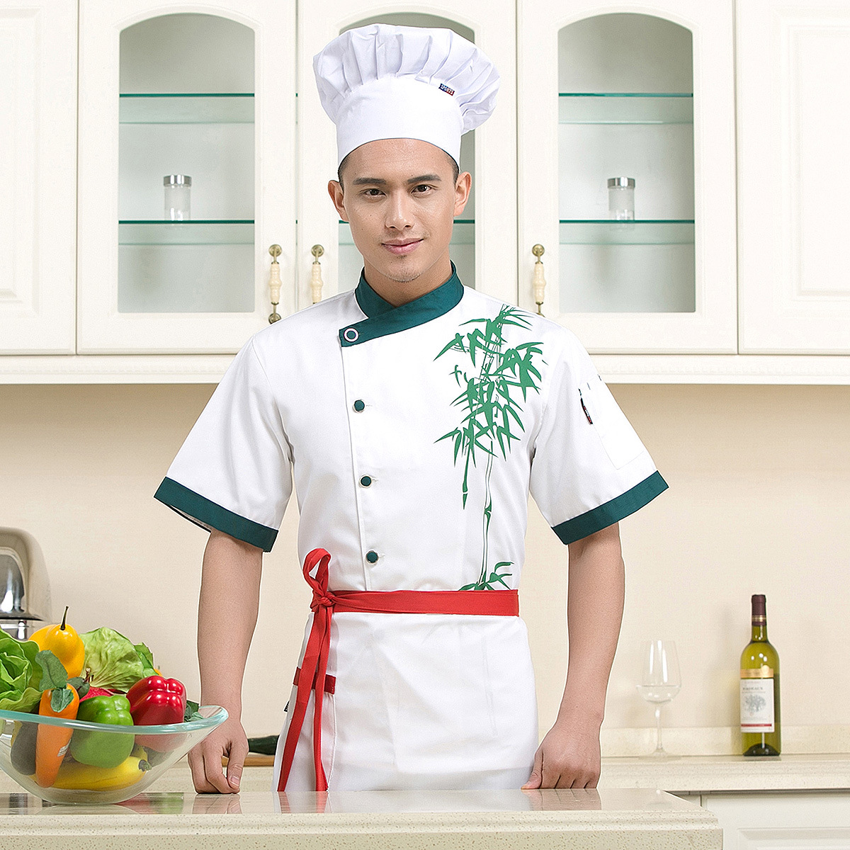 High Quality Chef Uniforms Clothing Short Sleeve Unisex Food Services Cooking Clothes Plus Size Uniform Chef Jackets B-5955