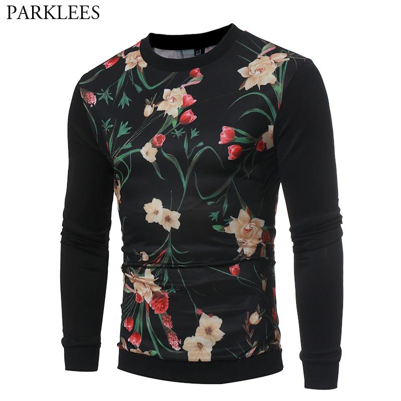 3D Flower Print Sweatshirt Men Women Sweat Homme 2017 Autumn New Slim Fit O Neck Men Sweatshirts Casual Black Hip Hop Sportswear