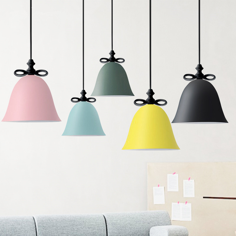 Buy Modern Colorful Bow tie Pendant Light Colorful Creative Pendant Lamp Bedroom Hanging Lamp Restaurant Home Light Fixtures