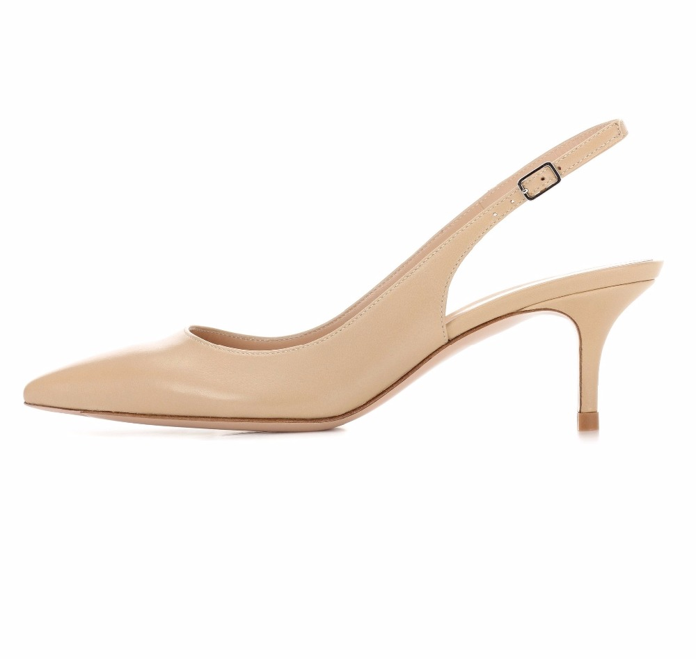 ФОТО Women's 6.5cm Kitten Heels Pointed Toe Slingback Pumps Middle Heel Closed Toe 2017 Comfortable Fashion Dress Shoes US Size 5-13