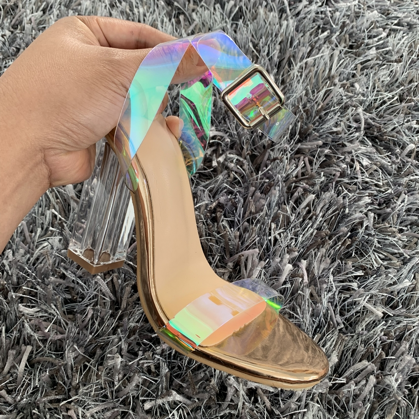 HTB1Rd.pbiYrK1Rjy0Fdq6ACvVXa0 2019 Summer PVC Clear Transparent Strappy High Heels Shoes Women Sandals Peep Toe Sexy Party Female Ladies Shoes Woman Sandalias