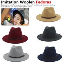Winter Autumn Black Men Wool Gentle Fedora Hat Wide Brim Imitation Woolen Ladies Fedoras Jazz Hat Belt Caps Bowler Felt Hats 2019 wide brim pin black flat brim felt jazz hat autumn winter wool bowler hats for women men prom party cap solid color gorra