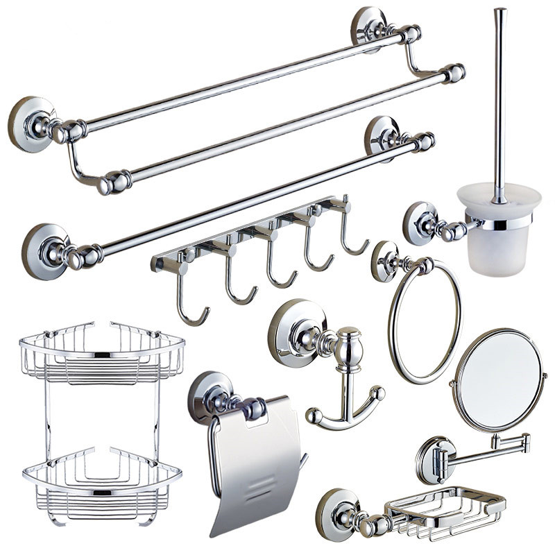 Silver Brass Bathroom Hardware Set Polished Round Base Chrome Bathroom  Accessories Sets Wall Mounted Modern Bathroom Product In Bath Hardware Sets  From Home ...