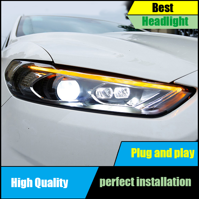 Car styling Head Lamp For Ford Mondeo Fusion Headlights 2013 2014 2015 2016 Headlight Assembly LED DRL Dynamic Turn Signal Light