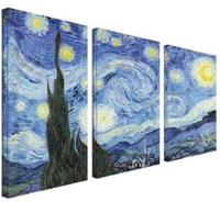 3 Panel Big Size Impressionist DecorationThe Starry Night Wall Art Picture Poster Star Canvas Painting Living