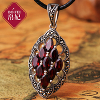 2017 new Silk Princess Natural semi precious stones high end the Thai 925 Sterling silver red necklace good Garnet Pendant