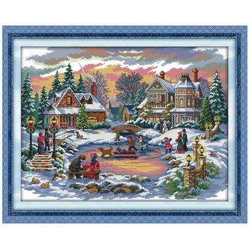 14/16/18/27/28 Treasure Time Counted Cross Stitch 11CT 14CT Cross Stitch Set Scenery Cross-stitch Kit Embroidery Needlework image
