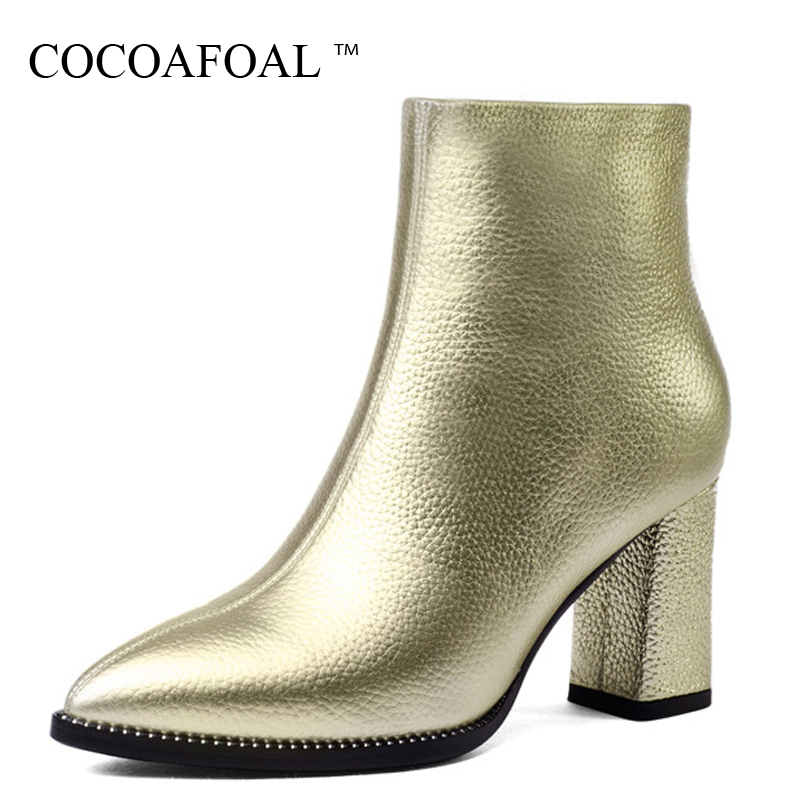 COCOAFOAL Women's Genuine Leather High Heels Chelsea Boots Plus Size Pointed Toe Winter Ankle Boots Genuine Leather Woman Shoes cocoafoal woman green high heels shoes plus size 33 43 sexy stiletto red wedding shoes genuine leather pointed toe pumps 2018