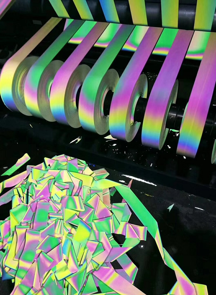 Colours of the rainbow reflective self-adhesive transfer film ironed on the clothing image