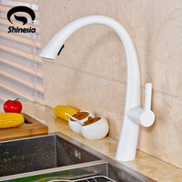 White Kitchen Sink Faucet Deck Mount Pull Out Sprayer Nozzle Hot Cold Mixer Water Taps