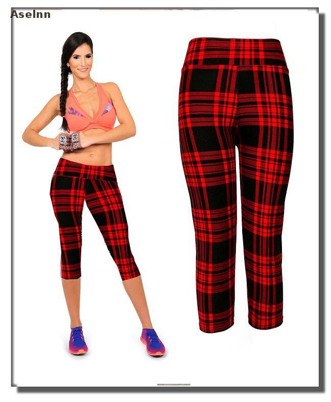 Aselnn Brand New Capri Women Leggings Pantaloni a vita alta con - Abbigliamento donna - Fotografia 4
