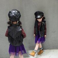 Poke Style Child Fringe Vest Coats Junior Boys Clothes Baby Girls Clothing Children PU Leather Outwear