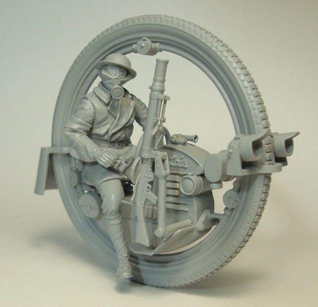 Không Phủ Sơn Bộ 1/35 Người Đàn Ông Với Monowheel Moto INLCUDE 7 Đầu Hình Lịch Sử Nhựa Bộ Mô Hình Thu Nhỏ