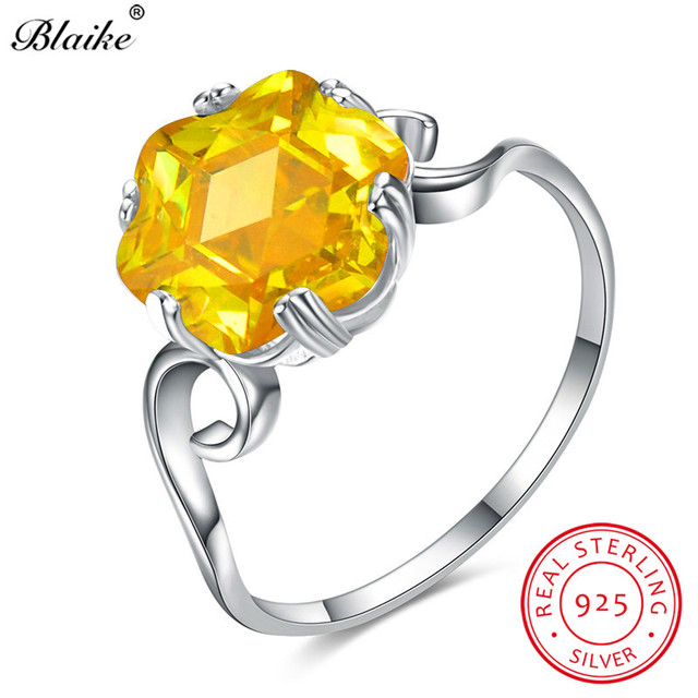 Blaike Yellow Topaz Hexagram Zircon Rings For Women 925 Sterling Silver Jewelry Citrine Wedding Bands November