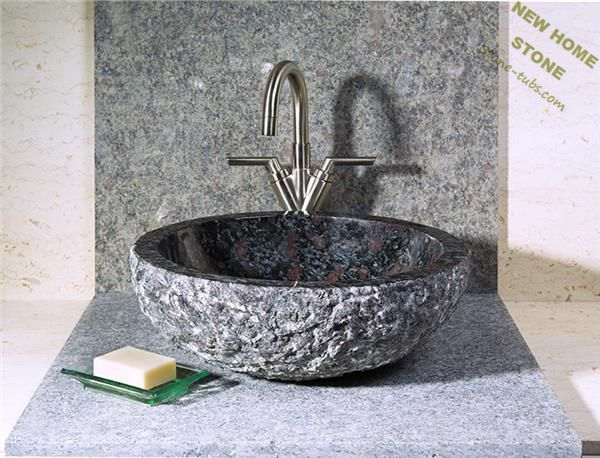 Superbe Natural Stone Vessel Sink Granite With Brown Spots Surface Polish Inside  Rough Outside Round Bathroom Vanity