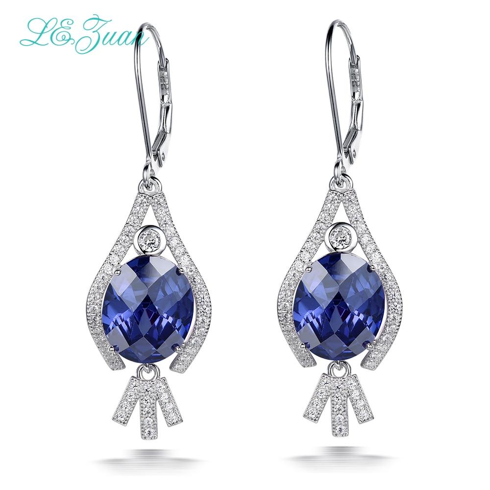 L zuan 925 Sterling Silver Drop Earrings 9 54ct Sapphire Gemstone Romantic Luxury Earrings Fine Jewelry