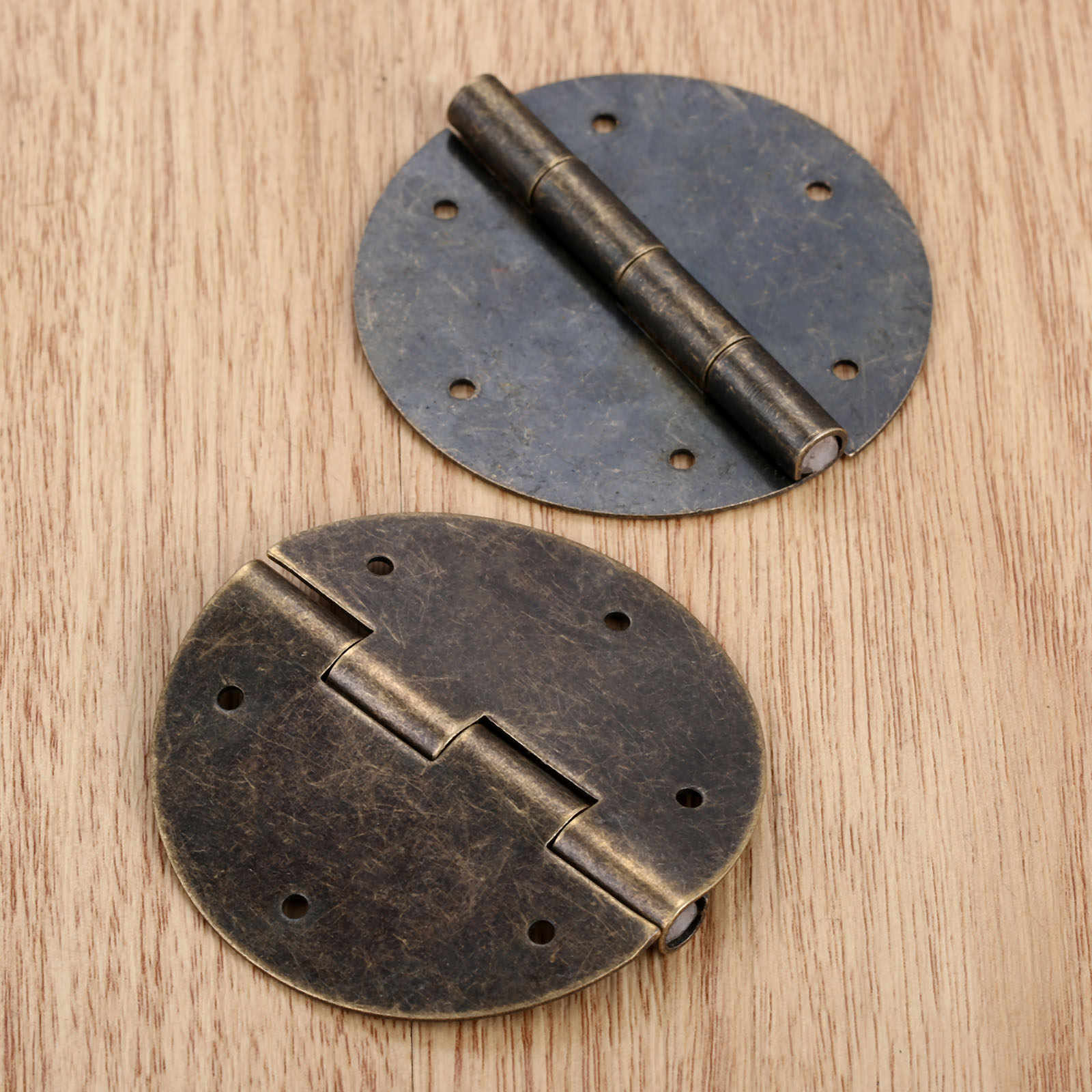 2Pcs 60mm Furniture Round Drawer Door Butt Hinge Antique Chinese Style DIY Decor
