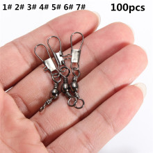 100pcs/lot 1-7# Fishing Rings Fishhook Treble Hook Barbed Hook For Fishing Carbon Soft Worm Bait Hook Quality Swivel Holder #C0