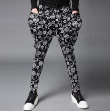 Winter autumn black slim printing trousers mens toes pants harem pants males informal pants persona homme pantalones hombre