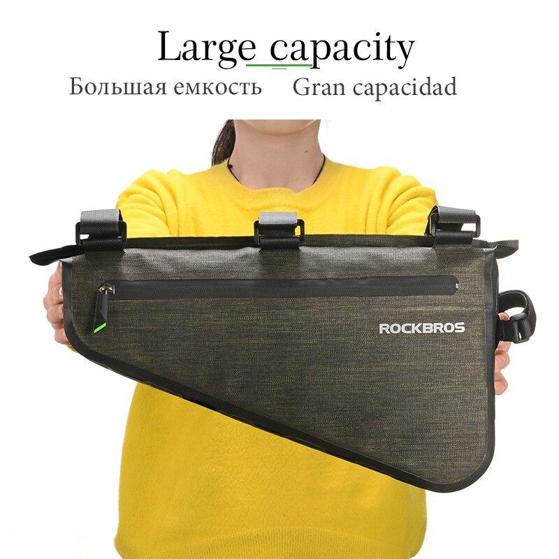 ROCKBROS велосипедная сумка непромокаемая большая емкость MTB Дорожная сумка треугольная сумка водонепроницаемая сумка для катания Аксессуары ...