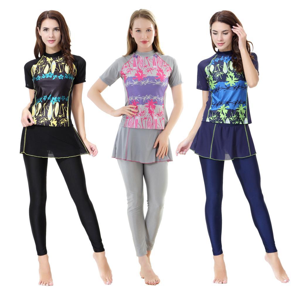 Women's Muslim Swimwear Short Sleeve Skirt Printed Female Bathing Suit Burkinis Two Piece Modest Swimsuit Women Lady Girl XX 390
