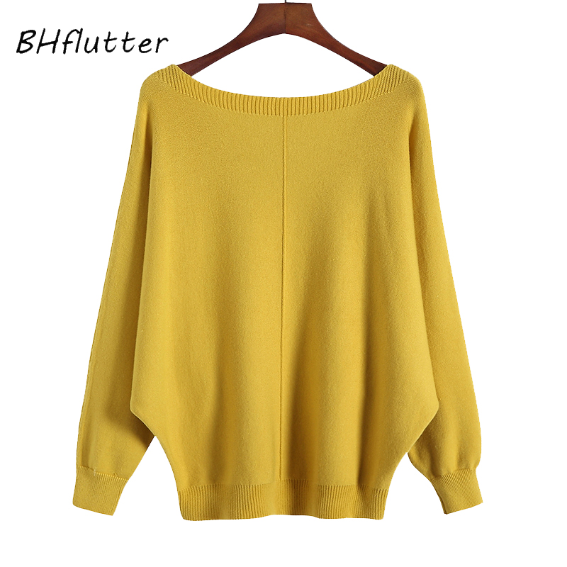 BHflutter 2018 Winter Sweaters Pullovers Women Batwing Cashmere Sweater Slash Neck Female Casual Knitted Jumper Top Sueter Mujer