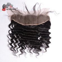 Sunnymay Brazilian Virgin Hair Deep Wave Lace Frontal Closure 13x4 Bleached Knots Natural Color With Baby Hair
