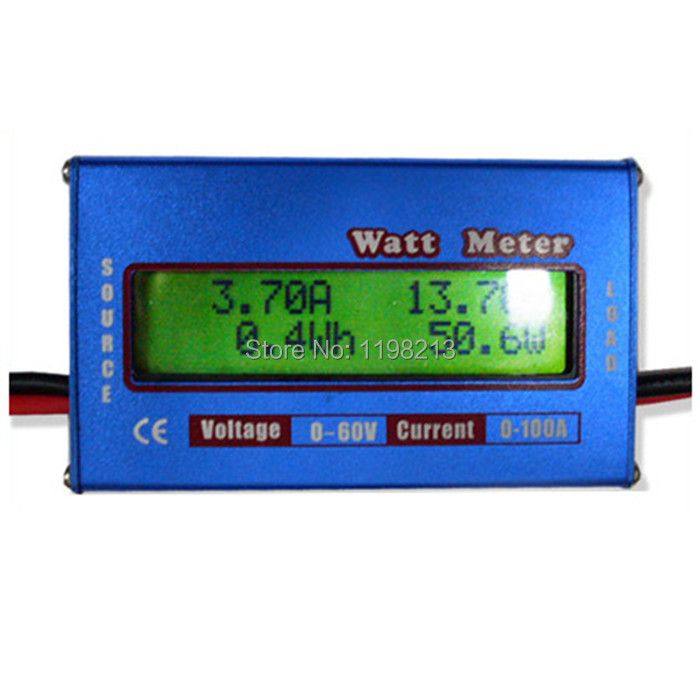 New Digital Balance Voltage Power Watt Meter Analyzer Tester Checker for RC Helicopter Battery Charger 60V 100A Wattmeter g t power 130a 150a rc watt meter power analyzer digital lcd tester 12v 24v 36v high precision