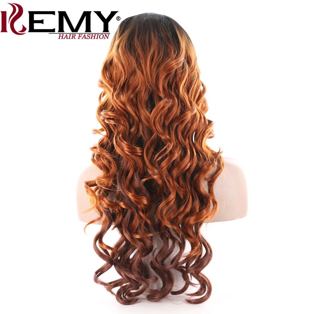 KEMY HAIR Synthetic Lace Wig Long Wavy Deep Invisible Middle Part Loose Wave Ombre Hair Wig For Black Women Heat Resistant Fiber
