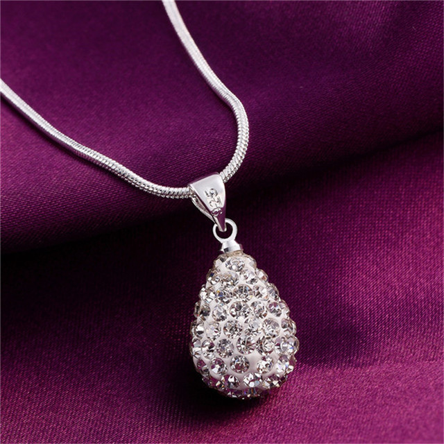 Fashion Jewelry Silver Pendant necklace zircon for women beautiful birthday gift simple wild style top quality cheap hot