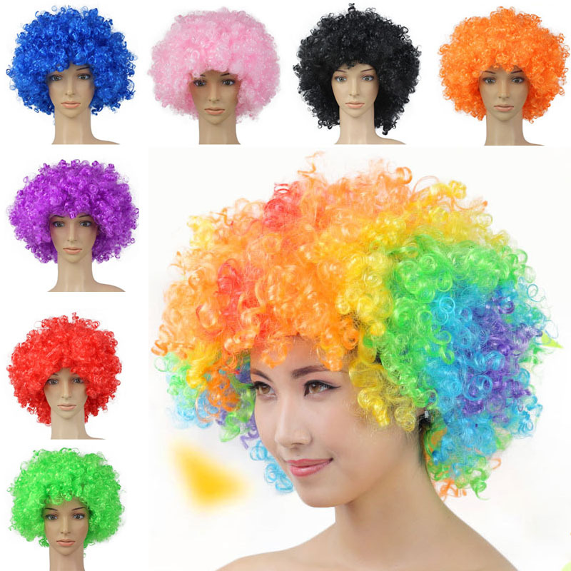 Clown Fans Carnival Wig Disco Cap Hat Funny Fancy Dress Stage Do Fun Joker Adult Child Costume Afro Curly Hair Wig party props drone helipad