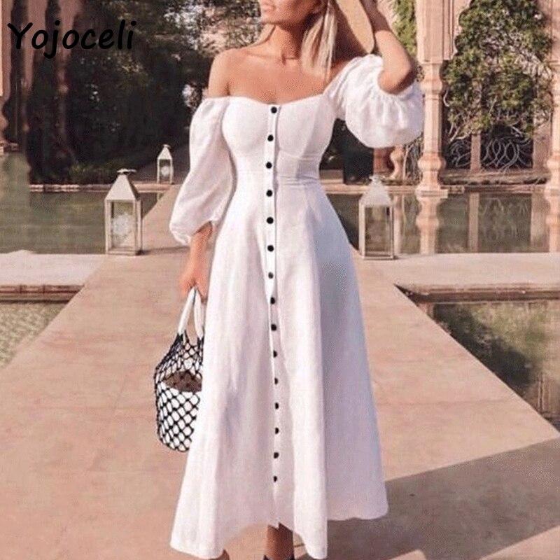 Yojoceli à la mode blanc bouton robe femmes streetwear 2019 printemps lanterne robe mi-longue épaule dénudée femme vestidos