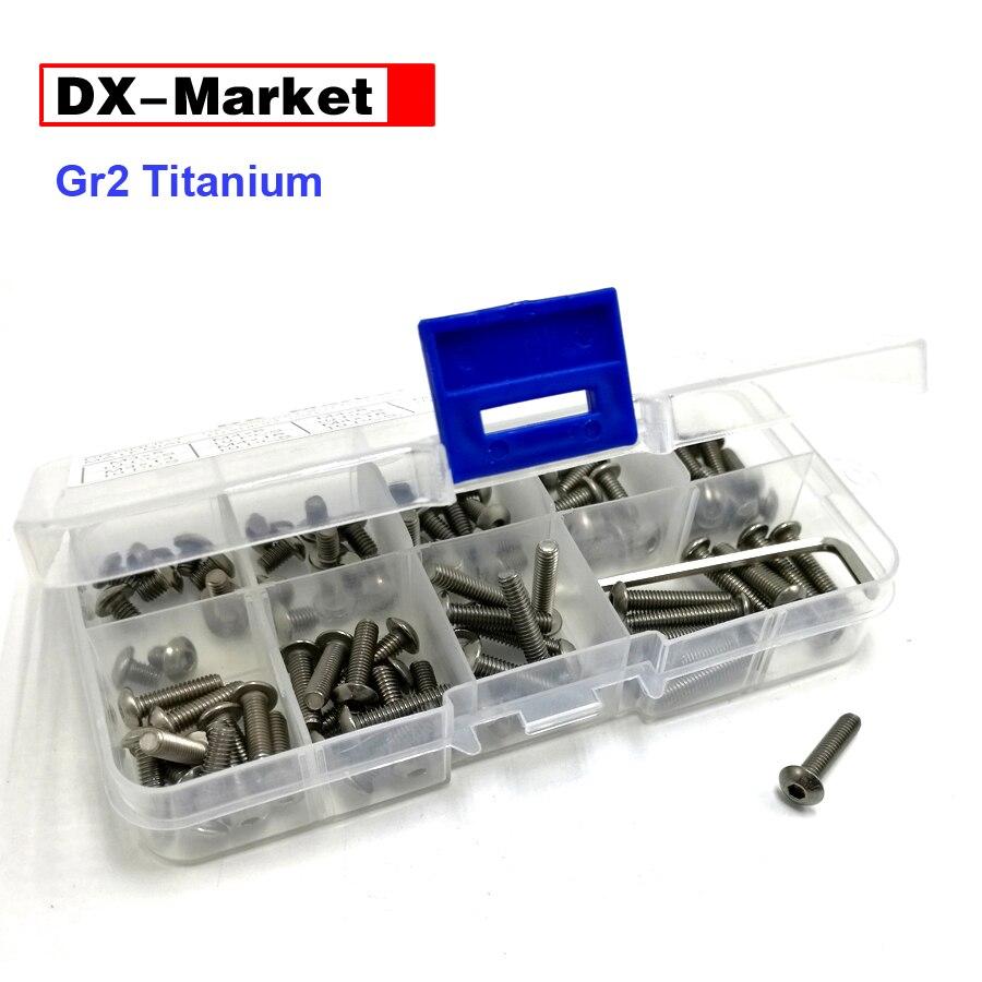 m3 m4 m5 m6 Titanium bolt kit , hex socket button head screw , ISO 7380  Titanium bolt , GR2 titanium fasteners