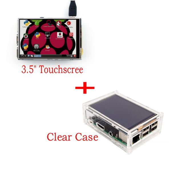 "3,5 ""LCD TFT Touch Screen Display mit Stylus für Raspberry Pi 2 Pi 3 + Acryl transparent Fall"