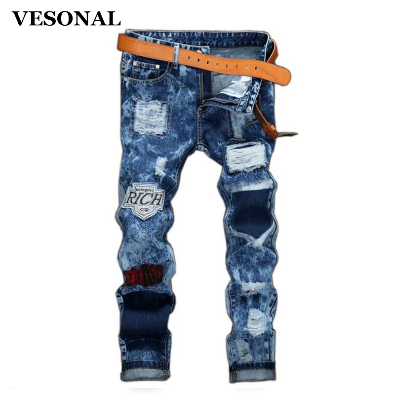 VESONAL 2017 Brand Badge Hole Slim Ripped Biker Hip Hop Swag Men Jeans Pants Fashion Casual Vintage Denim Mens Trousers VE112 2017 fashion patch jeans men slim straight denim jeans ripped trousers new famous brand biker jeans logo mens zipper jeans 604