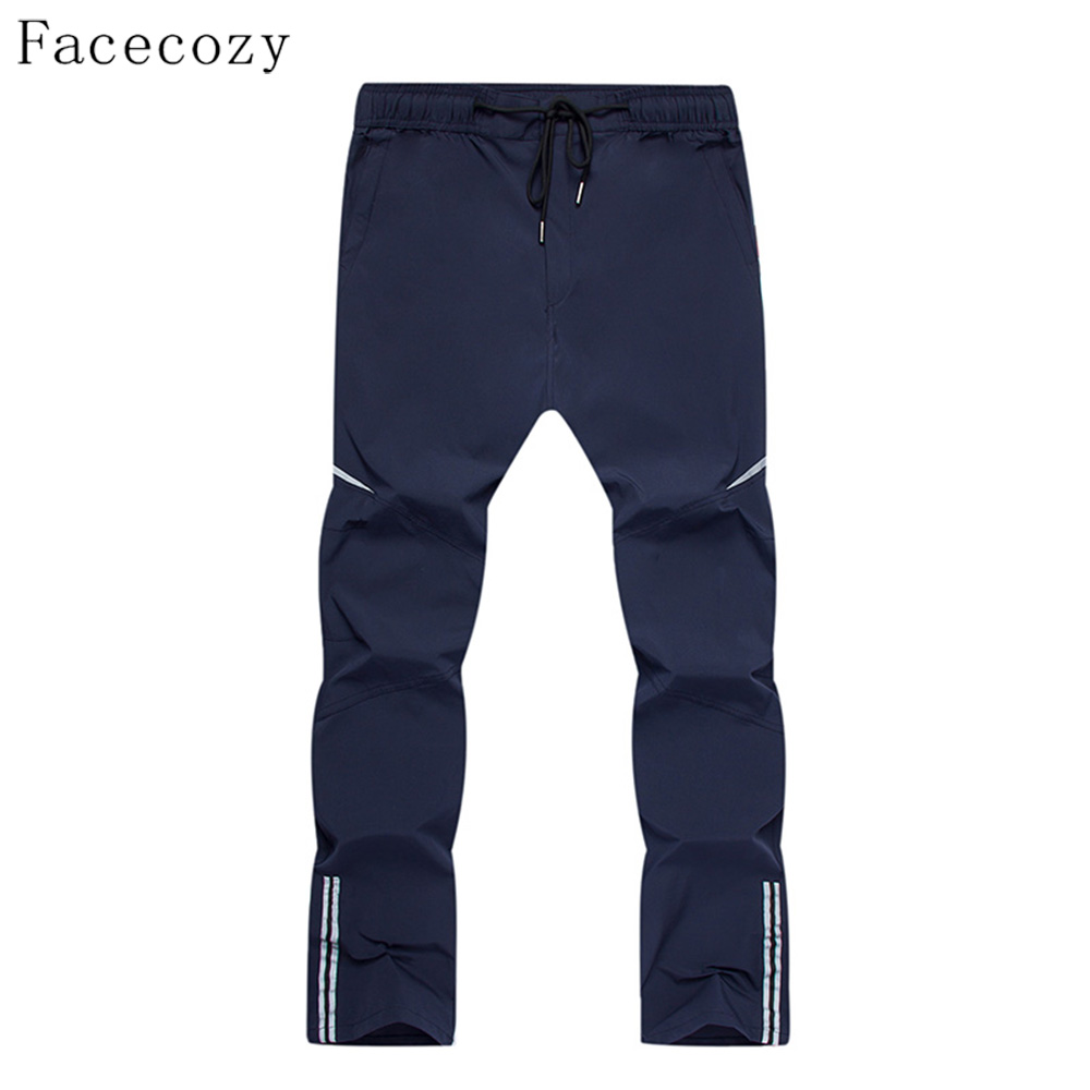 Fececozy Men Summer Nylon Quick Dry Thin Breathable Elastic Pants Reflective Strips Trousers Hiking Camping Outdoor Sports Pants