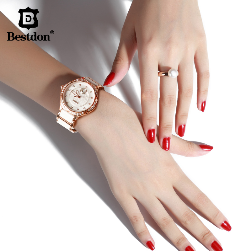 Bestdon Women's watches New Style White Ceramic Quartz Wristwatch Luxury Brand Fashion Ladies Watch Women Quartz Watch Colck l 10 women s stylish petals style bracelet quartz analog wristwatch golden white 1 x lr626