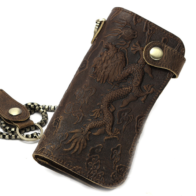 Quality Cattle men Prevent Stealing Genuine leather Dargon Tiger Emboss Checkbook Iron Chain Long Wallets Purse Clutch Handbag