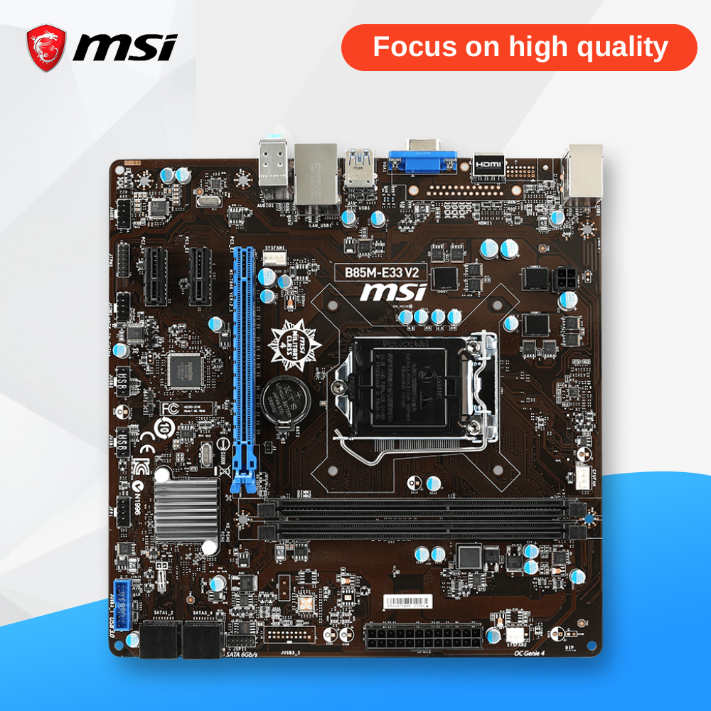 MSI B85M-E33 V2 Desktop Motherboard B85 Socket LGA 1150 i3 i5 i7 DDR3 16G SATA3 USB3.0 Micro-ATX asus b85m v5 plus desktop motherboard b85 socket lga 1150 i7 i5 i3 ddr3 16g sata3 micro atx