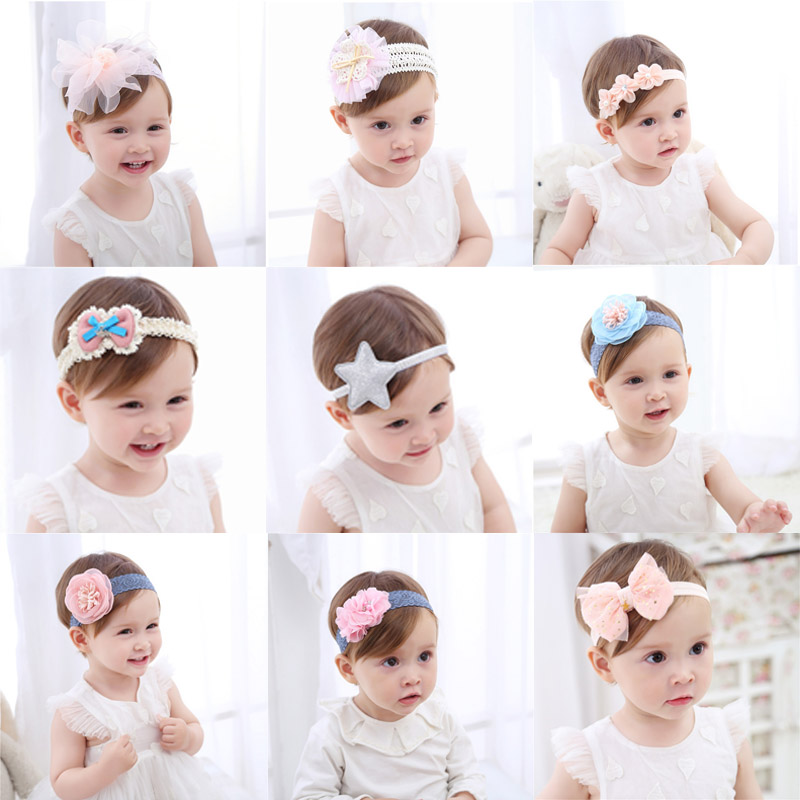 princess baby headband newborn knitted hair bands baby girl hair accessories tiara infantil Lace Flowers Elastic bands   Headwear