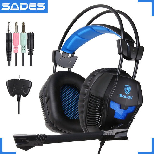 d5db0a3ee60 SADES SA-921 Stereo Gaming Headset Headphones 3.5mm Jack with Mic for  Laptop PC/MAC/PS4/XBOX ONE/Phones With Splitter Adapter