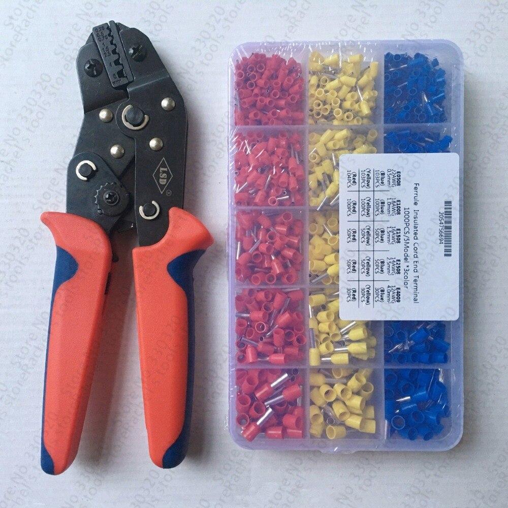 핸드 페럴 크림 퍼 플라이어 1000 pcs 케이블 와이어 터미널 커넥터 압착 도구 키트 세트-에서수공구 세트부터 도구 의 Rachel's tools store