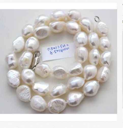 classic 9-11mm south sea natural baroque white pearl necklace 18inch