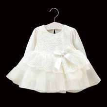 2019 Newborn Baby Girls Dress Toddler Princess White Long Sleeve Cotton Dress Infant Lace Christening Ball Gown Party Baptism(China)